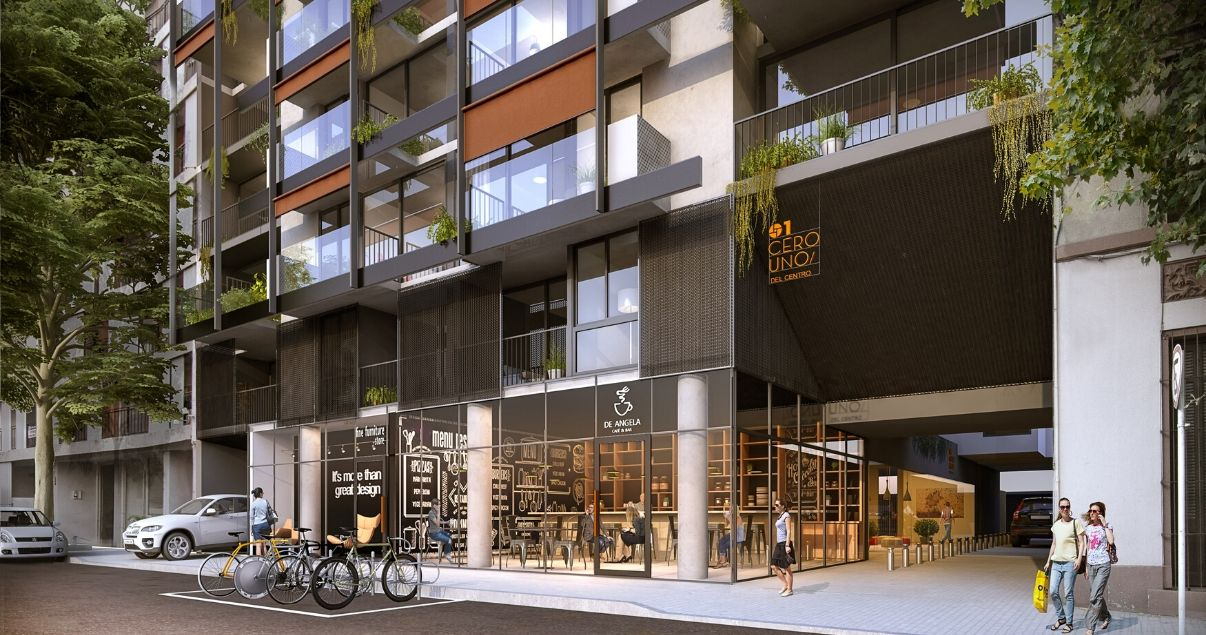 Render de  01 del Centro en día soleado, desarrollo inmobiliario de LGD Arquitectos