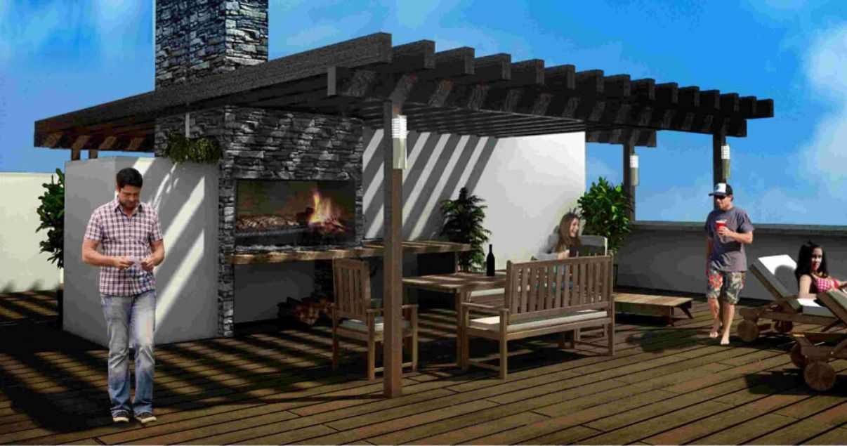 render de parrillero de Front Park, proyecto inmobiliario del estudio de arquitectos mokobocki
