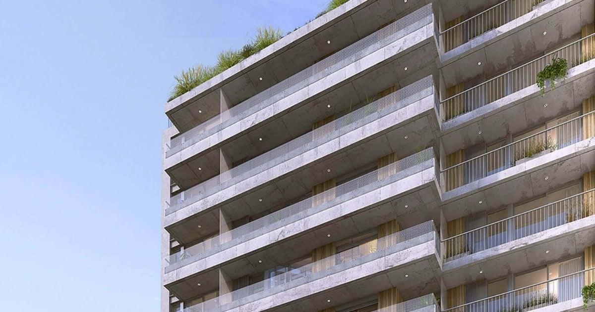 Render de Domini Roxlo, proyecto inmobiliario de la constructora JD ltda