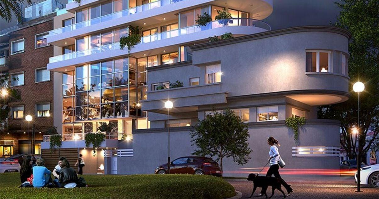 Fachada de Birdie Golf, edificio en punta carretas Montevideo, un proyecto del estudio de arquitectos Bettinelli