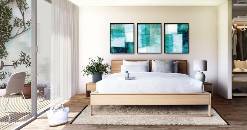 Cuarto moderno con cama closet y decoraciones elegantes de un apartamento en el edificio L+