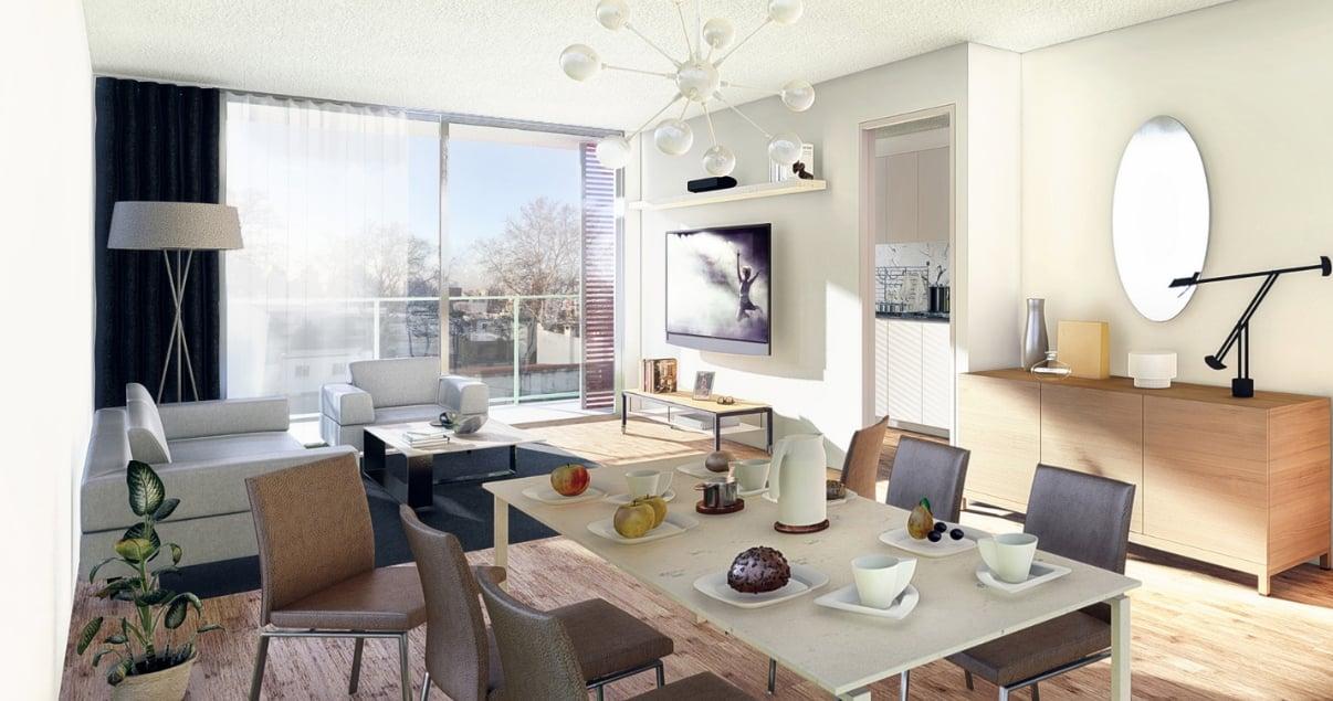 Elegante comedor living de un apartamento en el edificio L+