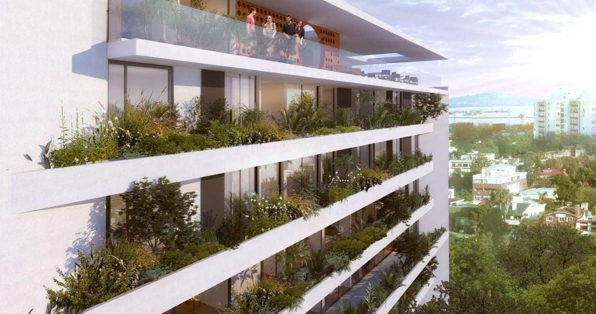 Balcones con plantas y vista espectacular del 01 Libertador de la desarrolladora inmobiliaria Vitrium Capital