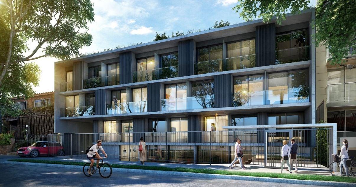 exterior del edificio More Echaverriarza con balcones vidriados en un dia soleado de la desarrolladora inmobiliaria Altius Group