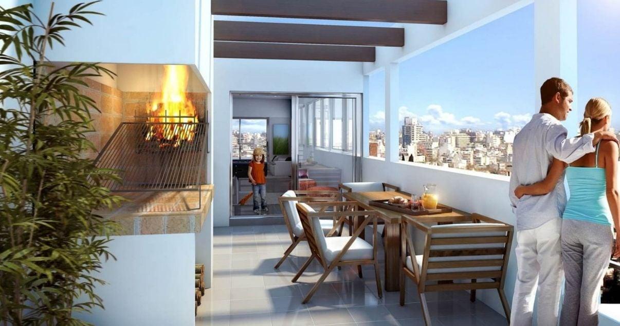 Terraza con vista a la ciudad en edificio Citadino Prado del estudio de arquitectos Christoff + De Sierra