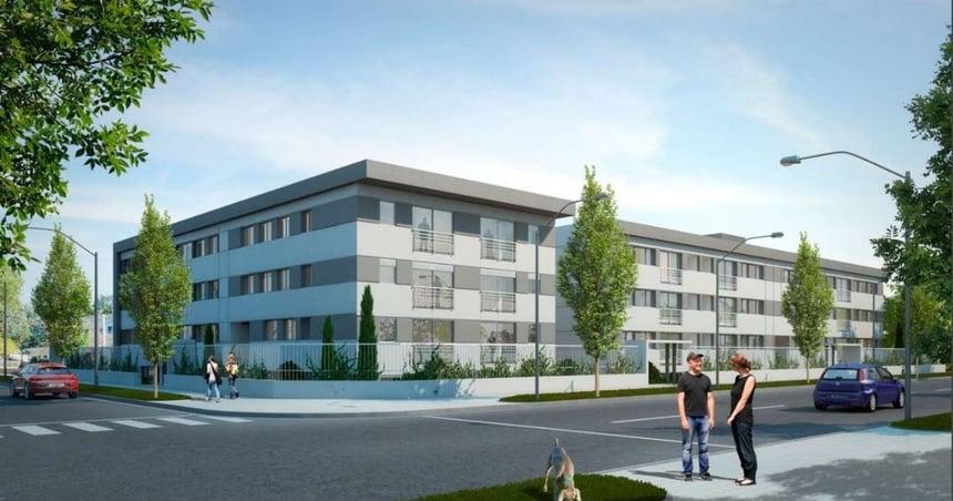 Exterior de un edificio de apartamentos de la empresa constructora Ceaosa