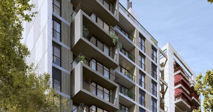 Fachada edificio Dómini Rivera y Salterain con balcones y ventanales del estudio de arquitectos Pablo Szames